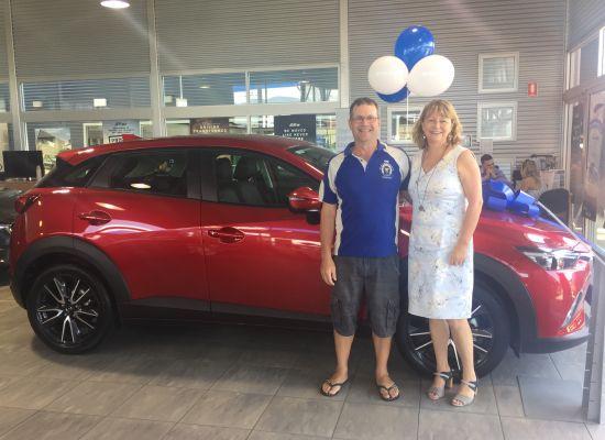 Mark & Liz taking delivery of a Mazda CX3