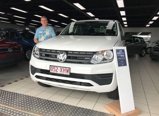 Steve taking delivery of a Volkswagen Amarok