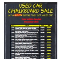 Westco Used Cars Chalkboard Specials