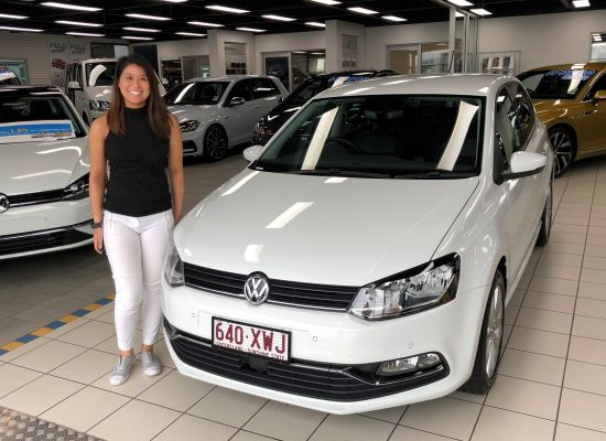 Seentinie taking delivery of a Volkswagen Polo