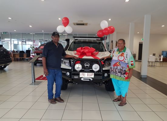 Fred & Flow taking delivery of a Nissan Navara