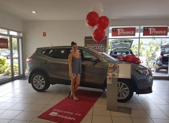 Bridget taking delivery of a Nissan Qashqai