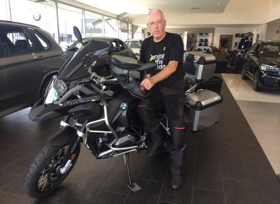 Wayne taking delivery of a BMW Bikes 1200GSA