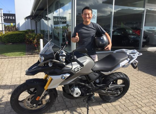 Yong Cha taking delivery of a BMW Bikes G310GS