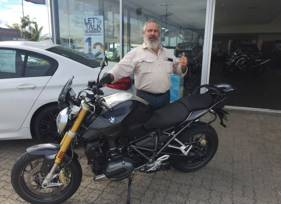 Greg taking delivery of a BMW Bikes R1200R