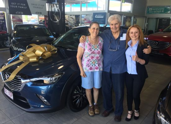 John & Rosemarie taking delivery of a Mazda CX3