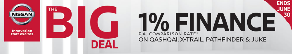 1% comparison rate for approved personal applicants and 1% annual percentage rate for approved business applicants of Nissan Financial Services (Australian Credit Licence Number 391464) only. Maximum term 36 months. Terms, conditions and fees apply. No
