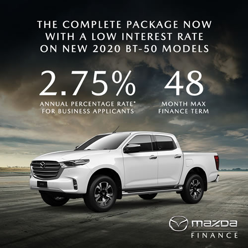 *2.75% Annual Percentage Rate available to approved business applicants of Mazda Finance to finance New 2020 BT-50 at Westco Mazda. Finance applications must be received by 31/03/2021. Maximum finance term of 48 months applies. T&Cs Apply
